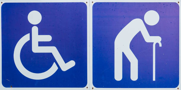 blue handicap symbol ,disabled sign and elder sign - badge logo stock photos and pictures