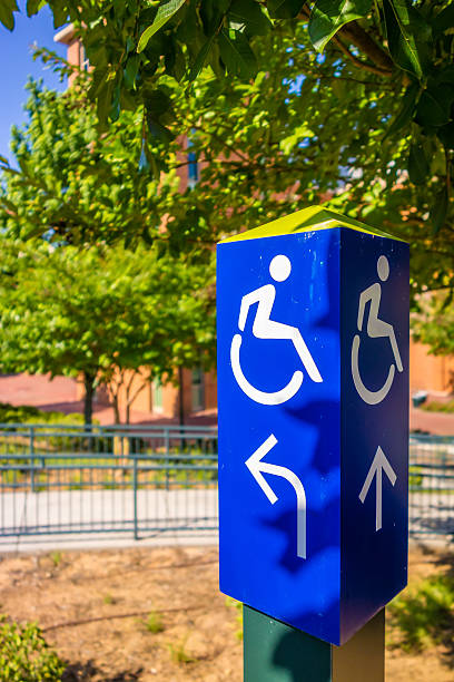 blue handicapped wheel chair post sign stock photo