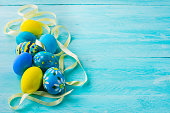 blue hand-painted Easter eggs