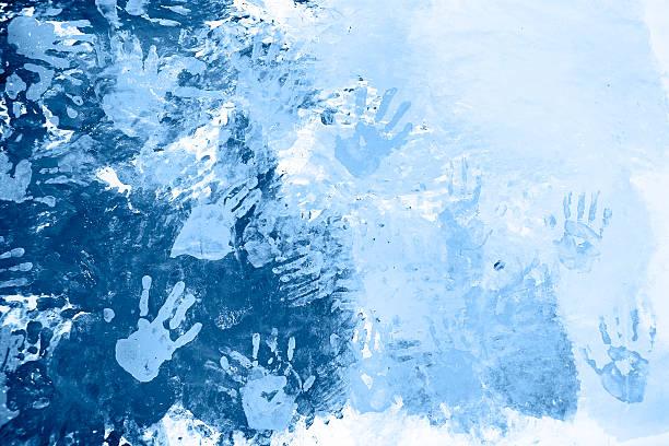 Blue Handprints stock photo