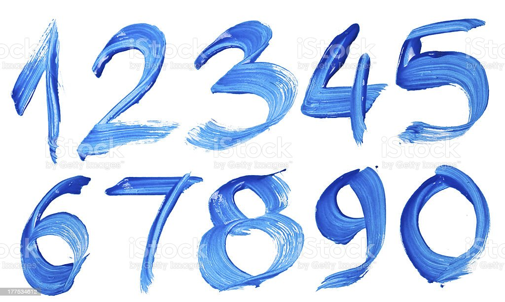 Blaue handgeschriebene Nummer – Foto