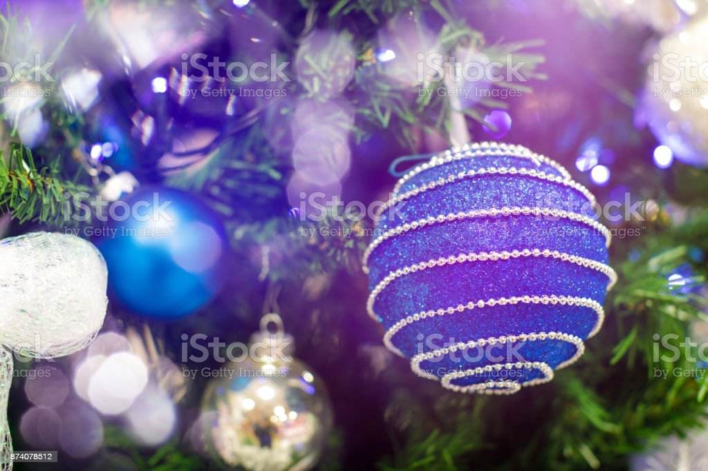 Blue hanging ball ornament for christmas tree shiny light flare