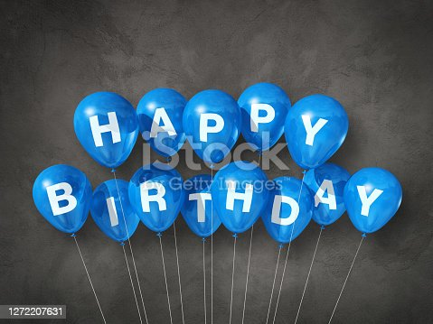 Blue happy birthday air balloons on a concrete background. 3D illustration render