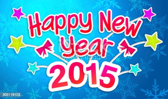 527392693 istock photo Blue Happy New Year 2015 Greeting Art Paper Card 505119123