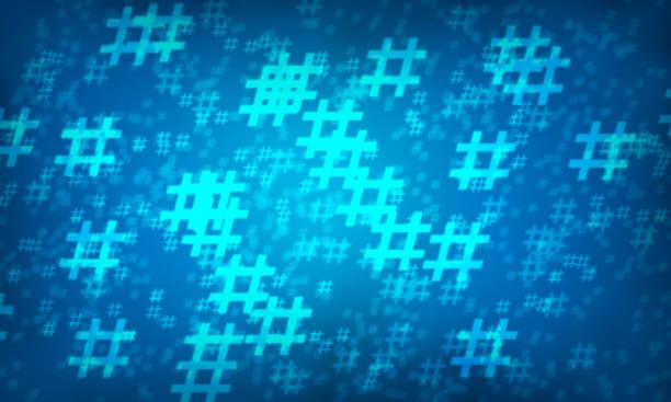 Blue hashtag random pattern background. stock photo