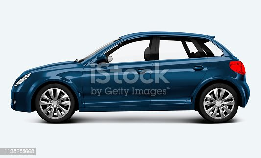 Side view of a blue hatchback in 3D