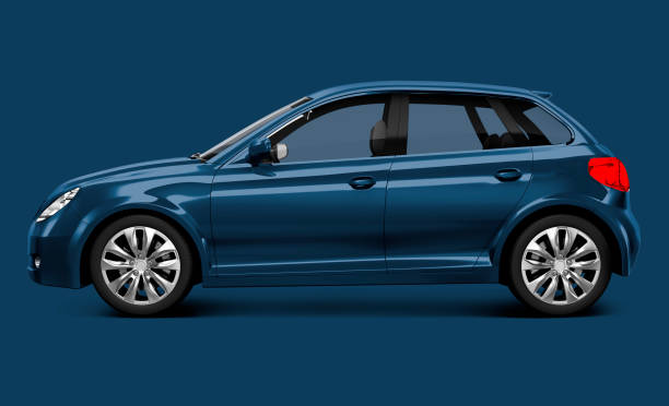 Blue hatchback car stock photo