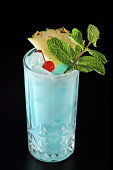 Blue Hawaii, classic drink with rum, curacao blue liquor and pineapple juice