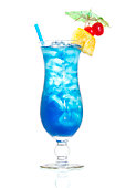 istock A blue Hawaiian cocktail on a white background 105069496