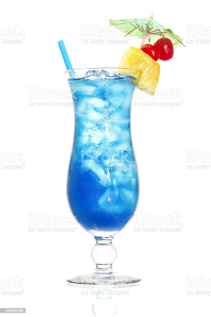 A blue Hawaiian cocktail on a white background stock photo