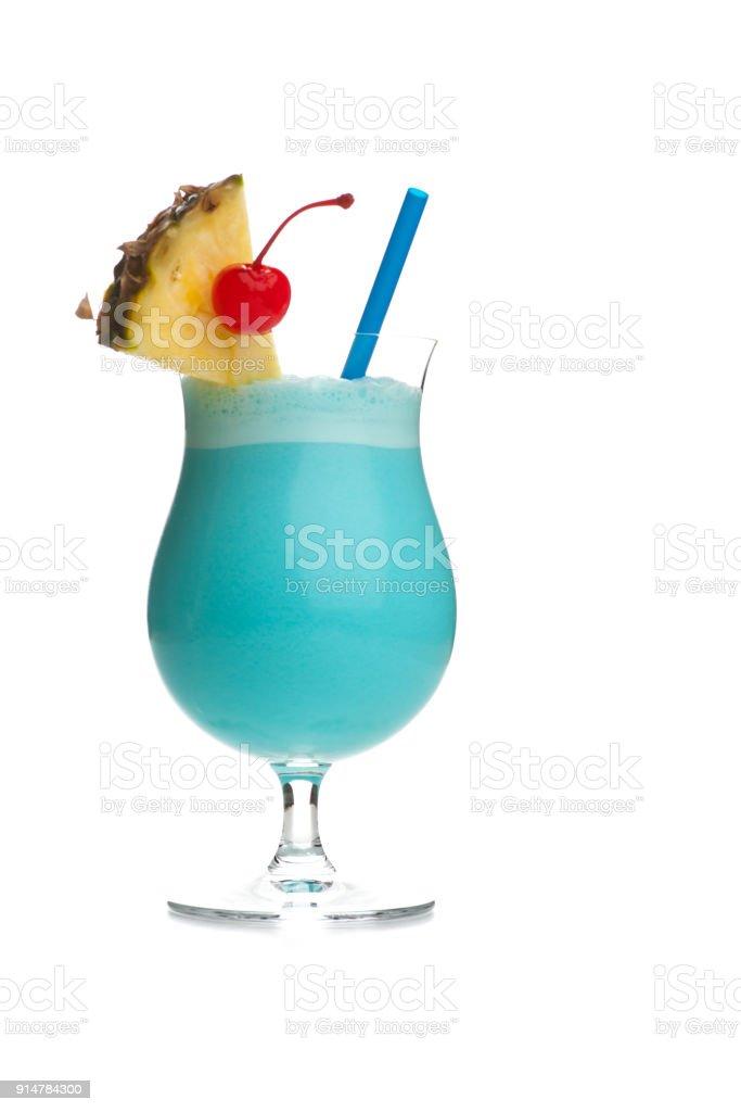 Blue Hawaiian Colada - with pineapple and cherry stock photo