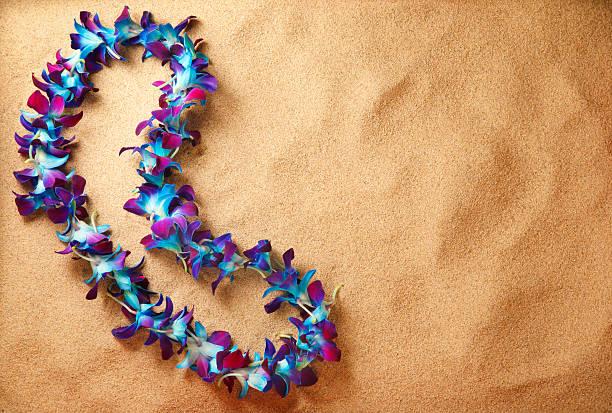 blue hawaiian lei am Strand – Foto