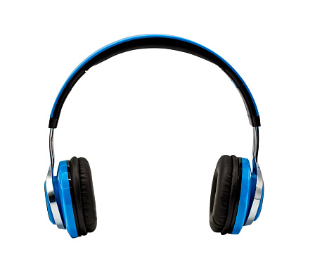 Blue headphone isolated on white background