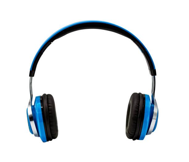blue headphone isolated on white background with clipping path - słuchawka nauszna zdjęcia i obrazy z banku zdjęć
