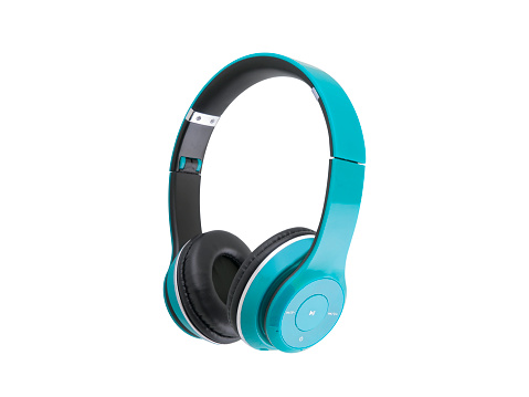Blue, headphones, isolated