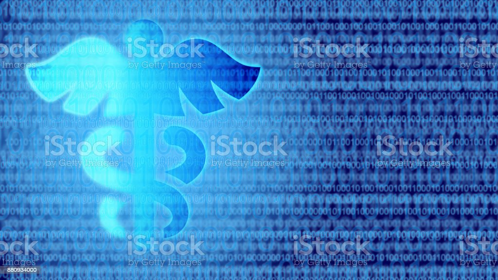 Blue health symbol on binary background digital medicine concept stock photo