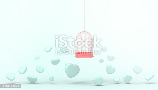 1078237178 istock photo blue heart balloons trapped in Red Float cage and minimal  heart group , Love concept - Valentine style -  Modern Art pastel Green  background - 3d rendering 1154965666
