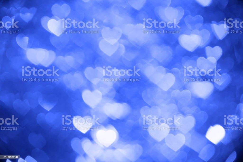 blue heart bokeh background photo, abstract holiday backdrop stock photo