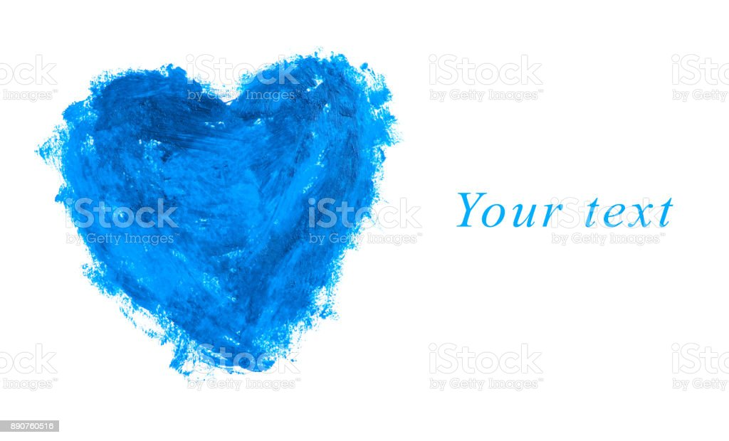Blue heart shape with copy space stock photo