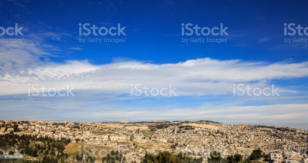 Blue heaven over old city of Jerusalem stock photo