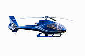 Blue tourist helicopter isolated on the white background