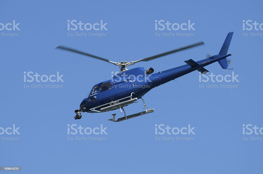 Blue helicopter royalty-free stock photo