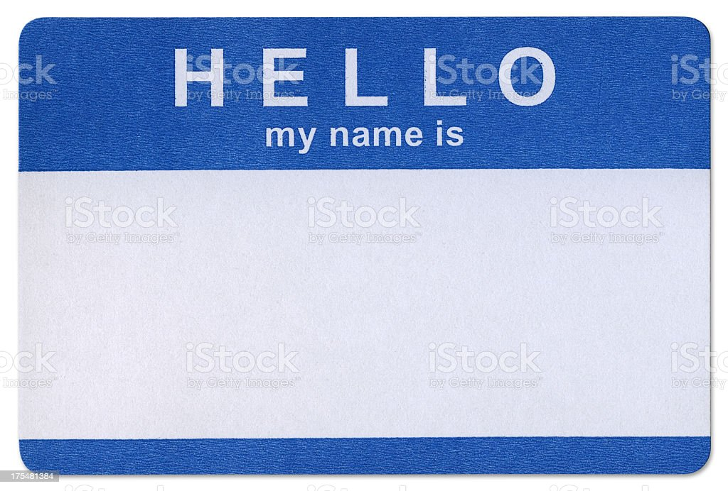 Blue Hello sticker template in white background stock photo