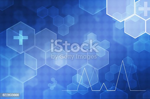 istock Blue Hexagon abstract medicine backgrounds 622803666