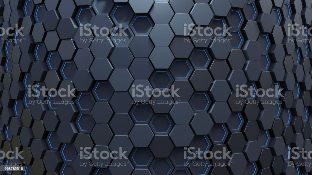 Blue hexagon pattern stock photo