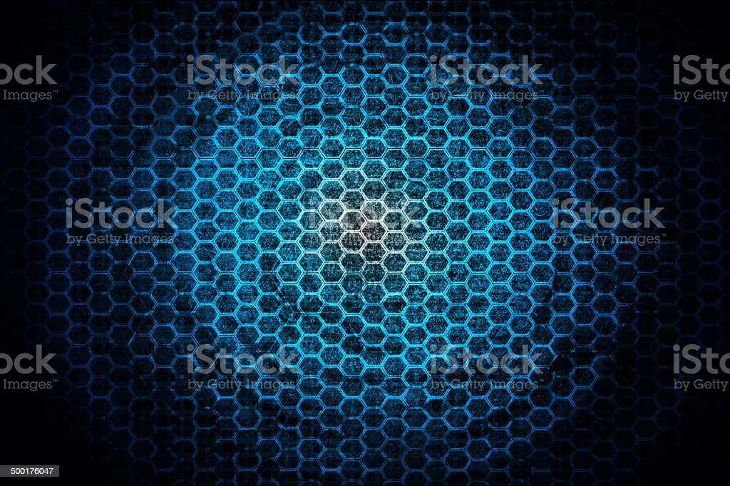 Blue hexagon texture background stock photo
