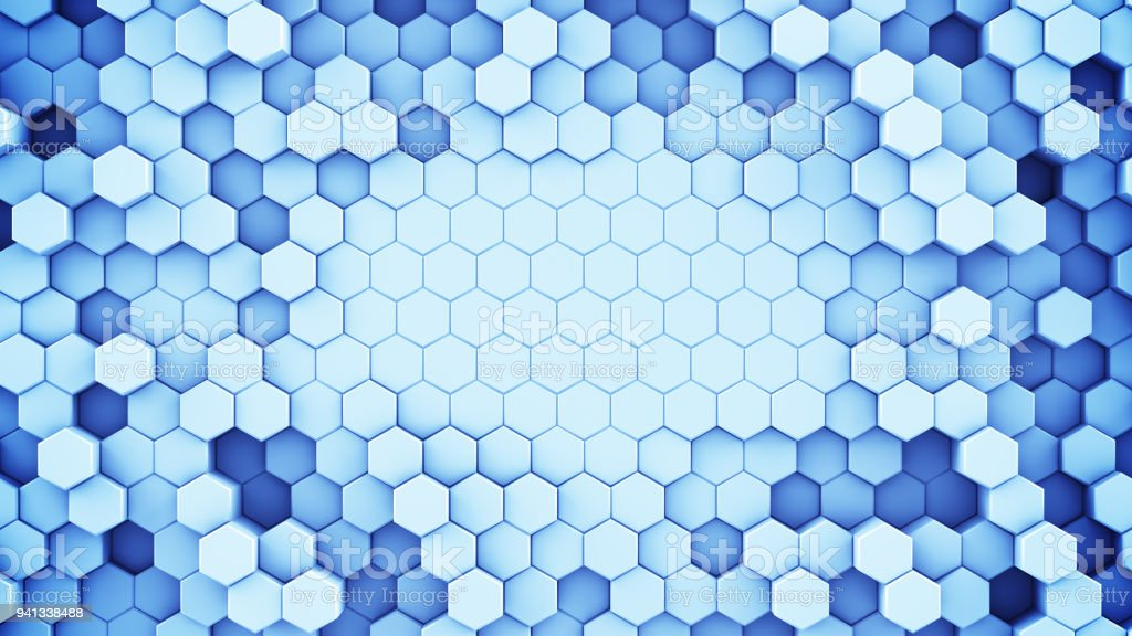 Blue hexagonal cells abstract 3D rendering stock photo