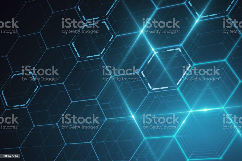 Blue hexagonal texture stock photo