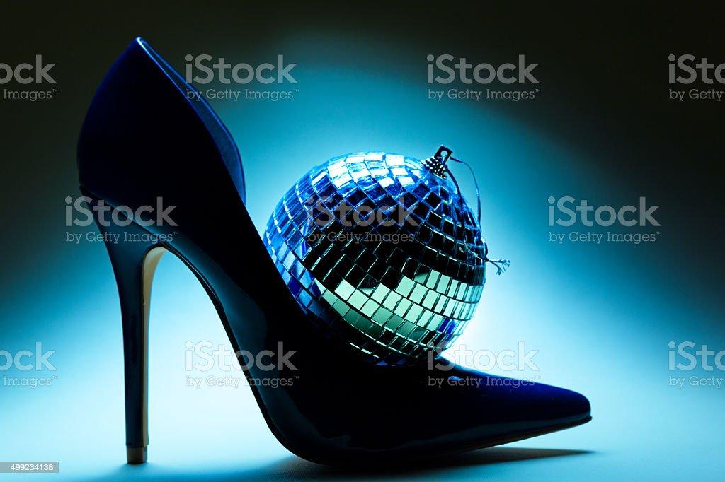 Haut Bleu De Et Photo Droit Chaussure Talon Libre Disco Ball À R35AjL4