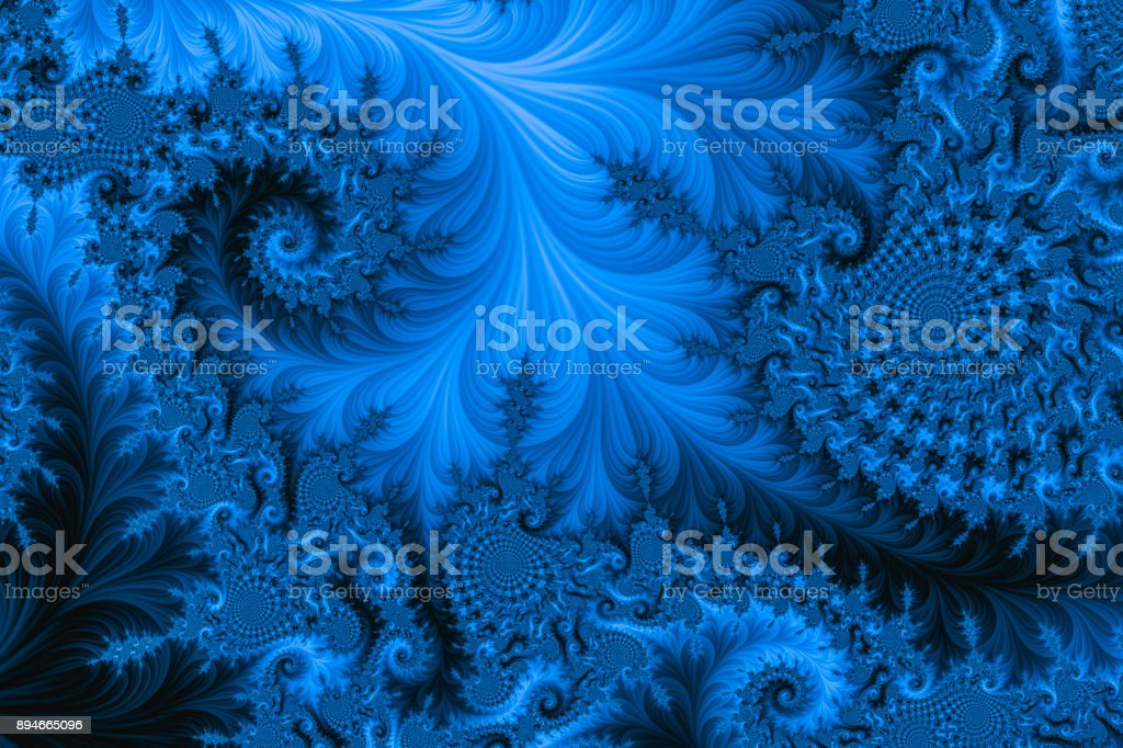 Blue high resolution textured fractal background that reminds of a spiral. stock photo
