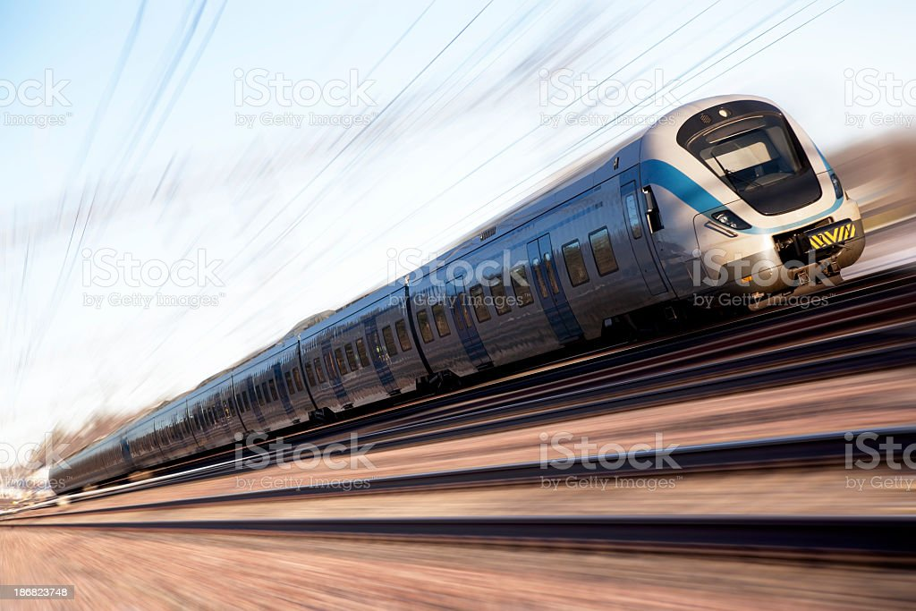 Blue High Speed Train royalty-free stock photo