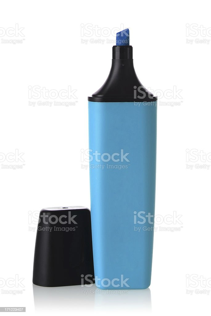 A blue highlighter pen against white background stock photo