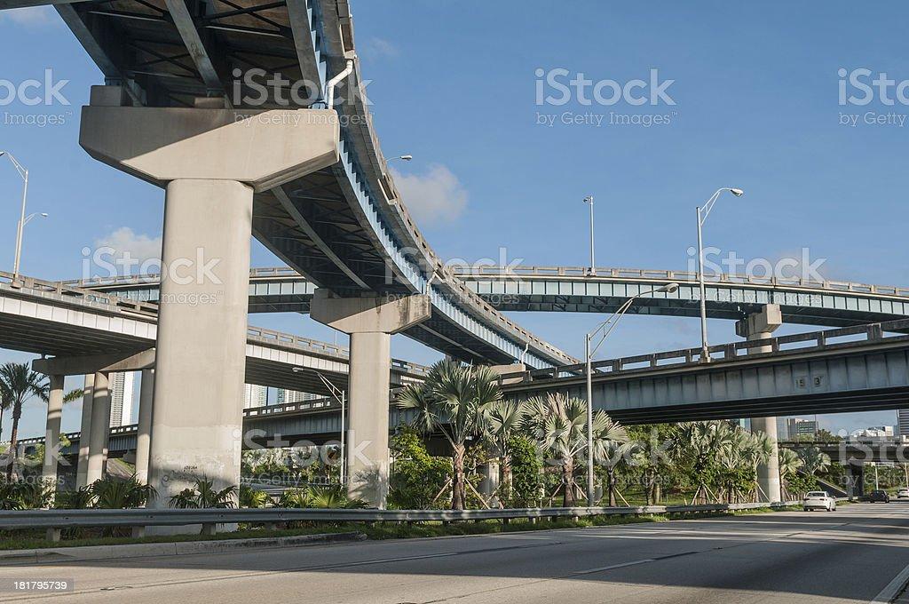 Blue highway overpass stock photo