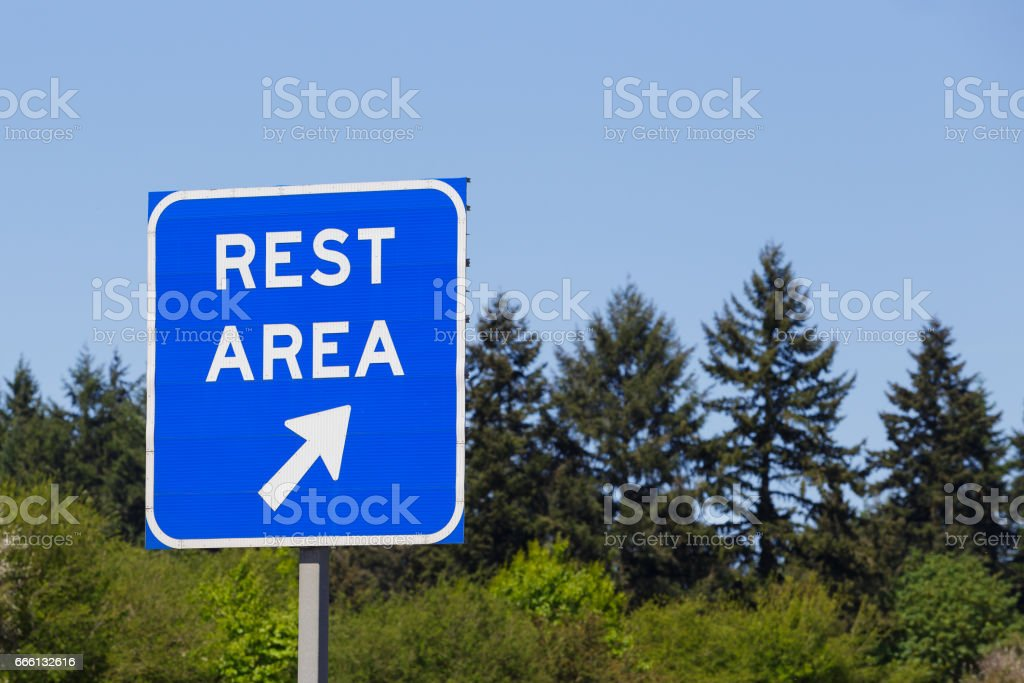 Blue Highway Rest Area Sign stock photo