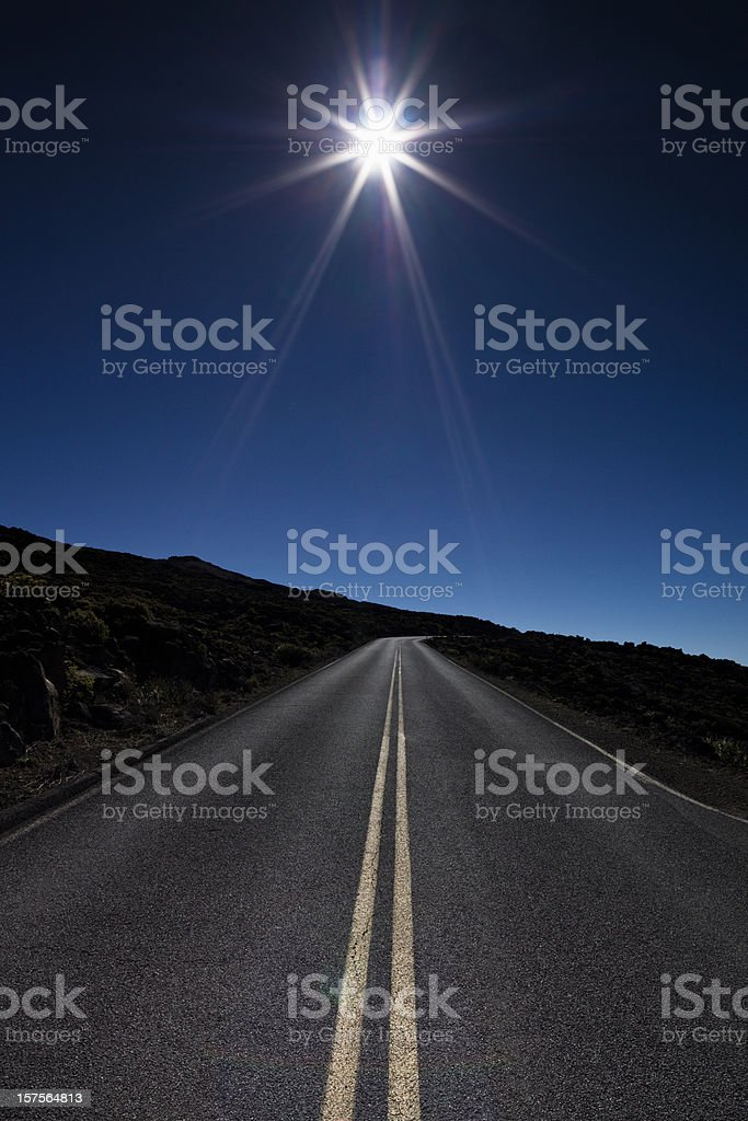 Blue Highway to the Sun stock photo
