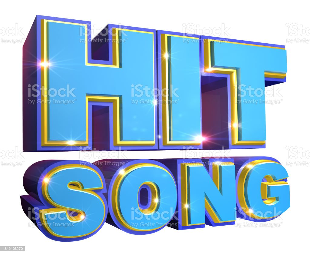 Blue Hit Song logo - 3d illustration stock photo