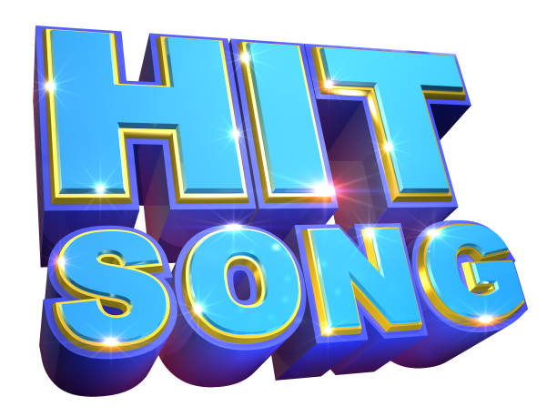 Blue Hit Song logo - 3d illustration Low angle view of Hit Song logo in blue tones / 3d rendering new age music stock pictures, royalty-free photos & images