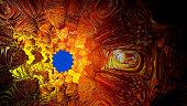 Blue hole in a circular three-dimensional fractal. 3d fractal graphic, part of a huge fractal, calculated with Mandelbulb 3D program, JPEG Grafik