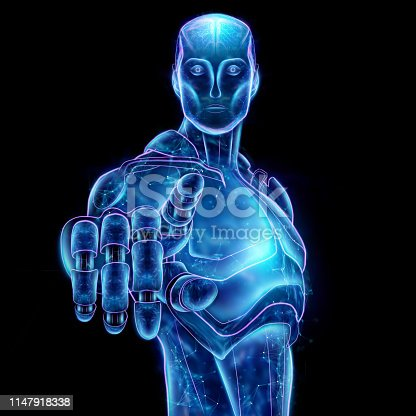 istock Blue Hologram of a robot, artificial intelligence on a black background. Concept neural networks, autopilot, robotization, industrial revolution 4.0. 3D illustration, 3D rendering. 1147918338