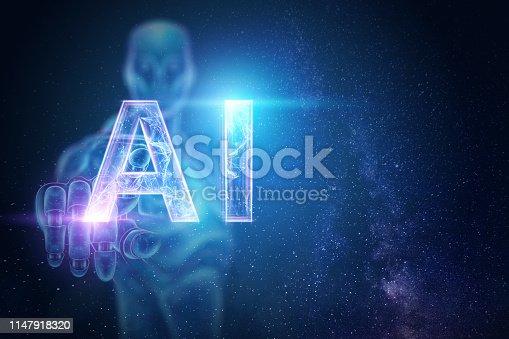1147918337 istock photo Blue Hologram of a robot, cyborg, artificial intelligence on a blue background. Concept neural networks, autopilot, robotization, industrial revolution 4.0. 3D illustration, 3D rendering. 1147918320