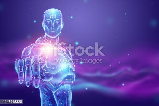 1147918337 istock photo Blue Hologram of a robot, cyborg, artificial intelligence on a blue background. Concept neural networks, autopilot, robotization, industrial revolution 4.0. 3D illustration, 3D rendering. 1147918326