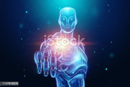 1147918337 istock photo Blue Hologram of a robot, cyborg, artificial intelligence on a blue background. Concept neural networks, autopilot, robotization, industrial revolution 4.0. 3D illustration, 3D rendering. 1147918329