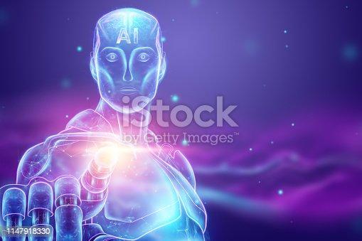 1147918337 istock photo Blue Hologram of a robot, cyborg, artificial intelligence on a blue background. Concept neural networks, autopilot, robotization, industrial revolution 4.0. 3D illustration, 3D rendering. 1147918330