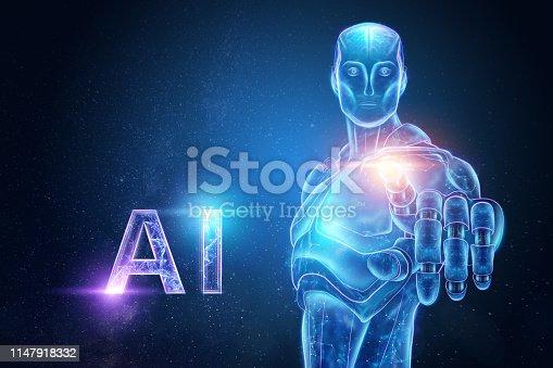 1147918337 istock photo Blue Hologram of a robot, cyborg, artificial intelligence on a blue background. Concept neural networks, autopilot, robotization, industrial revolution 4.0. 3D illustration, 3D rendering. 1147918332