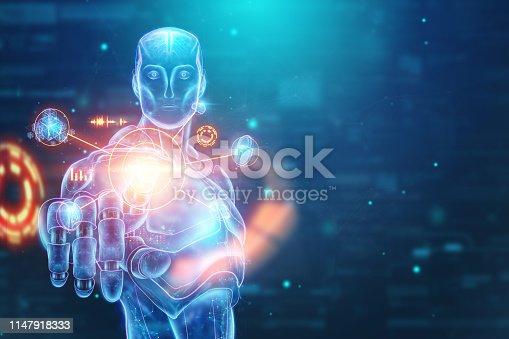 1147918337 istock photo Blue Hologram of a robot, cyborg, artificial intelligence on a blue background. Concept neural networks, autopilot, robotization, industrial revolution 4.0. 3D illustration, 3D rendering. 1147918333