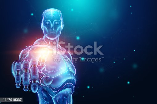 istock Blue Hologram of a robot, cyborg, artificial intelligence on a blue background. Concept neural networks, autopilot, robotization, industrial revolution 4.0. 3D illustration, 3D rendering. 1147918337